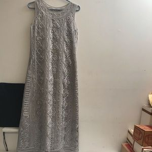 Carol Little Mid Length Gray Lace Dress size 10